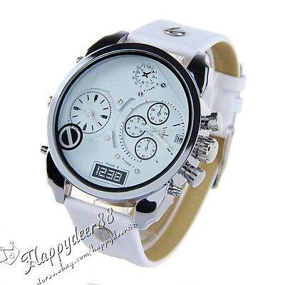 Men Wrist Watch Chronograph Date Stainless Steel Case Leather Band Analog Quartz