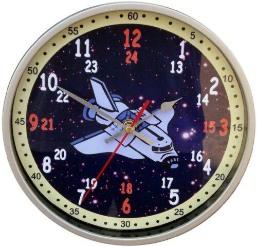 Wanduhr Kinder Lernuhr Kinderuhr Uhr Einschulung Motiv Raumschiff Weltall Dino