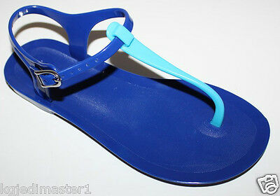 Gap NWT Women's 7 8 9 10 Blue Jelly Sandals w/ Teal Flat T Strap Swim Jellies