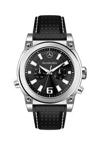 Mercedes benz men 39 s perforated leather chronograph dial for Mercedes benz watches ebay