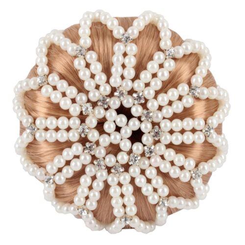 Horka femmes chignon cheveux filet deluxe de perles strass pierres concurrence accessoires