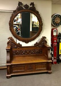 Victorian 1880 Hall Tree Mirror Set Tiger Oak Quarter Sawn