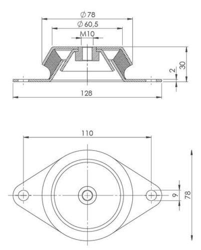 2 Stück Maschinenfüße// MA-FU 128 M10//Maschinenschuh Maschinenfuß Schwingelement