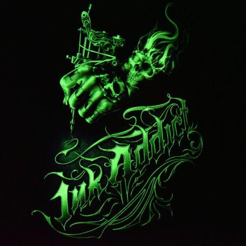 Rock Eagle Herren T-Shirt Schwarz Ink Addict Snake Schlange Halloween Skull Glow