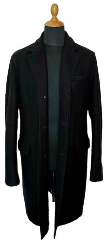 Authentic Prada Wool Coat Men Black XL Overcoat El