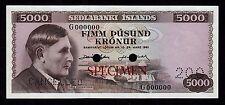 Iceland, 5000 Kronur L.1961, P-47s * Specimen * AU-UNC