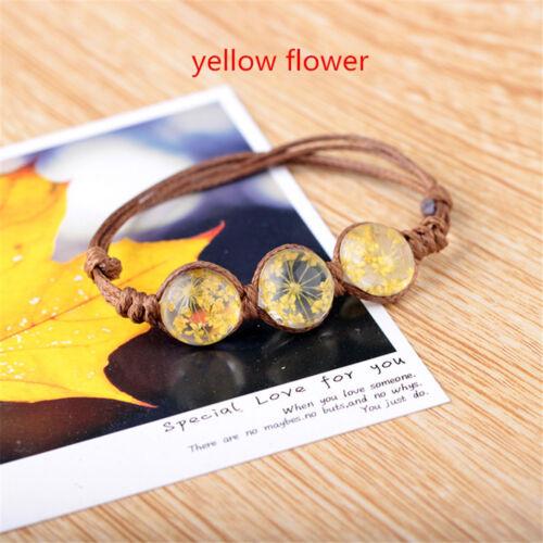 Damen Kirschblüte Löwenzahn Getrocknete Blume Glaskugel Armband Geschenk
