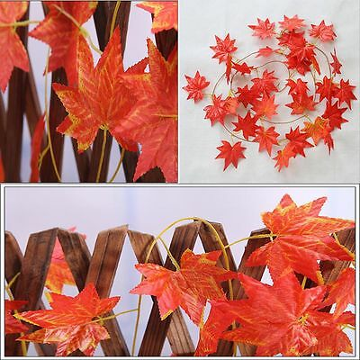 Fall Garland Red 2.4m Wedding Decor Maple Silk Leaf Autumn Home