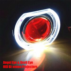 2-5-034-Bi-xenon-Projectors-LED-Angel-Eyes-amp-Devil-Eye-Red-Headlight-HID-Kit
