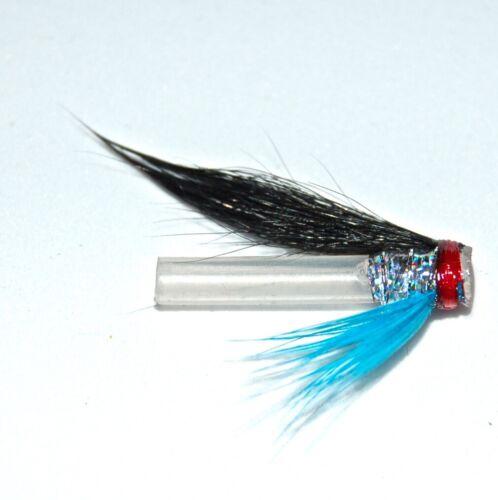 3 Argent Bleu Hitch SALMON FLIES lié sur 18 mm Tubes Plastiques