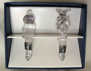 Set-of-2-MIKASA-Crystal-Decanter-Bottle-Stoppers-Grapes-PARK-LANE-NEW-NIB