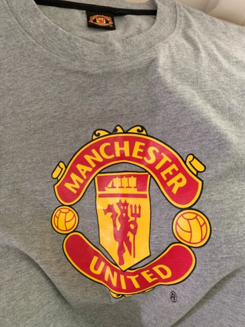 Grey Manchester United FC Baby Crest Football T-Shirt New