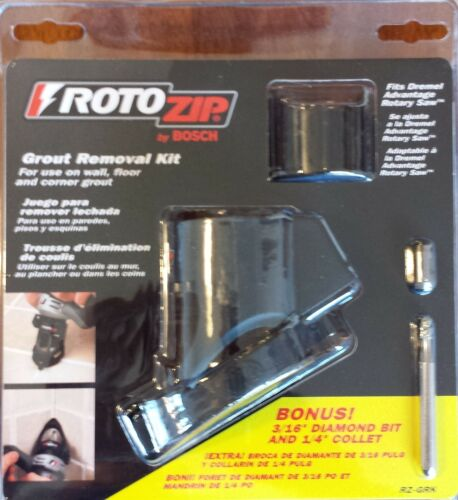 "Bosch RotoZip Grout Removal Kit w// Bonus 3//16/"" Diamond Bit /& 1//4/"" Collet RZ-GRK"