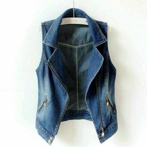 Women Gilet Denim Sleeveless Cardigan Jacket Waistcoat Coat Vest Tank Zip