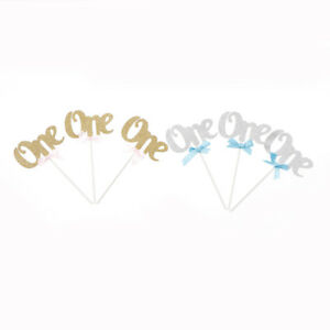 3X-First-Birthday-Cupcake-Toppers-Glitter-ONE-Years-Anniversary-Party-Decor-FT