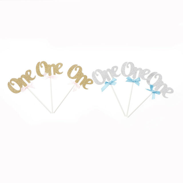 3X First Birthday Cupcake Toppers Glitter ONE Years Anniversary Party Decor MO