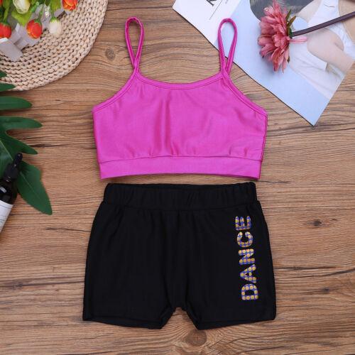 Girls 2Pcs Tankini Outfits Kids Dance Gymnastics Workout Suit Swimming Costume