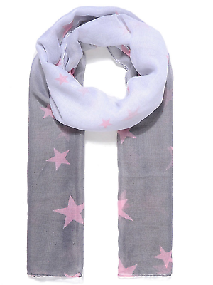 Grey ombré scarf with pink stars scarves shawl wrap ladies present gift