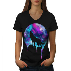 Wellcoda-Forest-Wolf-Moon-Light-pour-Femme-T-Shirt-col-V-hurlez-conception-graphique-Tee