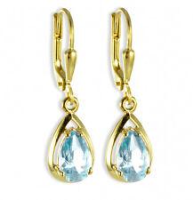ECHT GOLD  *** Ohrhänger Ohrringe Blautopas 27 mm