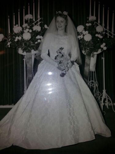 1960's Ivory Brocade Wedding Gown