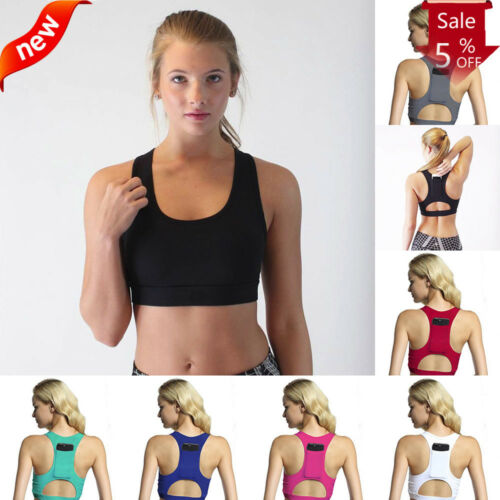 Women One Piece Sport Bra Breathable Fittness 1//2 Cup Yoga Bra with Pocket