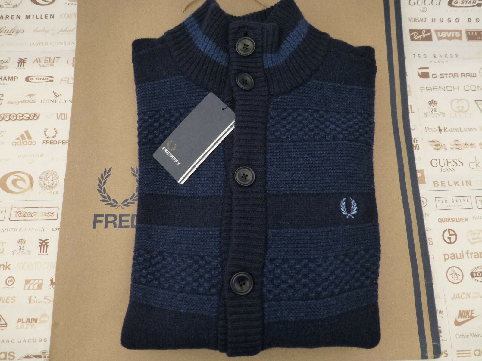 FRED PERRY Cardigan Mens PATCHWORK Texture Buttoned Size L Navy Wool Top R