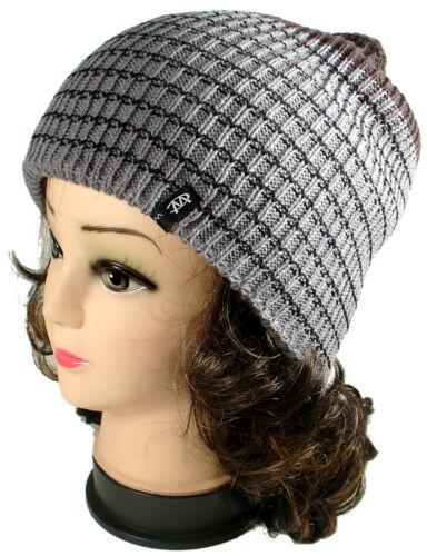 New Striped Knit Men/'s Women/'s Beanie Winter Warm Cuff Hat Ski Chic Cap Skull
