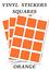 100 Pegatinas de plazas naranja-Auto Adhesivo Etiquetas de vinilo tamaño 65mm cada uno
