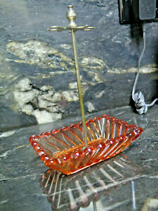 AMBERINA-BACCARAT-ROSE-TIENTE-SWIRL-FRENCH-GLASS-Stand-Toothbrush-Holder-Vintage