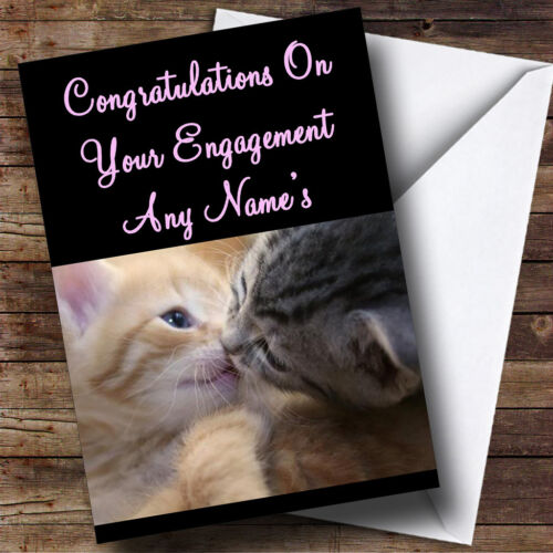 Cats Kissing Personalised Engagement Greetings Card