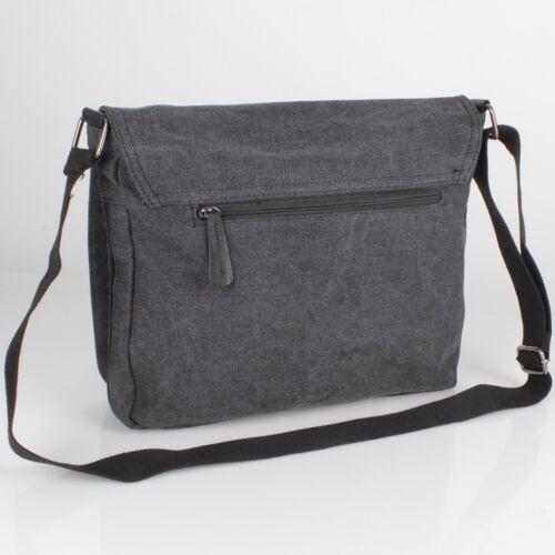 Vintage Stern Messenger Cross Bag Tasche Leder Canvas Jeans Stoff Schwarz NEU