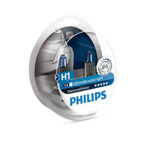 pack of 2 Philips H1 Diamond Vision Headlight Bulbs up to 5000K 12V55W