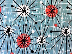 RPFCHE03W-RARE-Retro-Atomic-Era-Sputnik-Starburst-MCM-Modern-Cotton-Quilt-Fabric