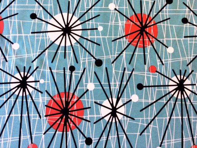 RPFCHE03W RARE Retro Atomic Era Sputnik Starburst MCM Modern Cotton Quilt Fabric