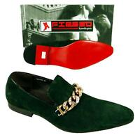 Men's Fiesso Green Suede Slip On Shoes With Stylish Gold Chain Studs Fi 6788
