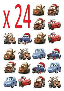 Disney Cars Christmas Clipart.Details About 24 Disney Cars Christmas Stand Up Cupcake Cake Toppers Edible Decorations Cake