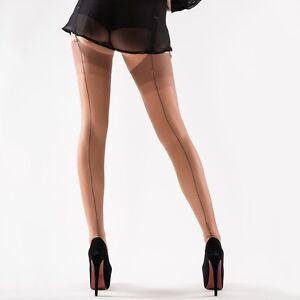 e759262076e Gio FF Bronze Black Contrast Seam Cuban Heel Stockings Nylons ...