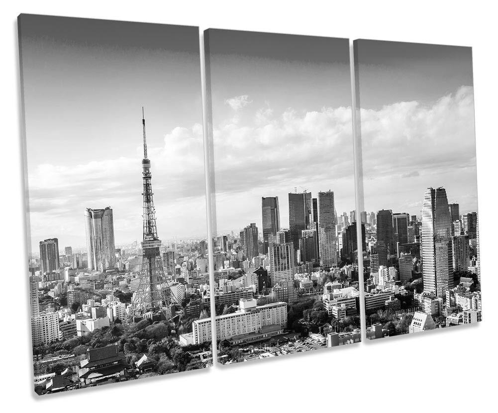 Tokyo Tower Japan B&W Framed TREBLE CANVAS Drucken Wand Kunst