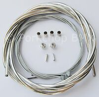 Bicycle 5mm LINED brake cable housing and hardware kit BMX MTB VINTAGE - CHROME