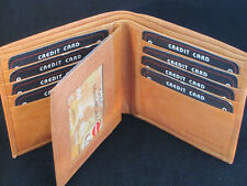 MENS WALLET WIDE MIDDLE FLAP TAN 12 CREDIT CARD SLOTS SPECIAL RARE WALLET