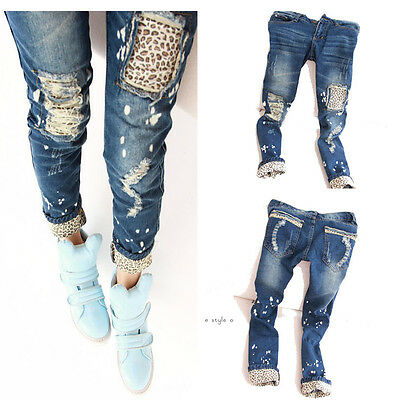 2014 Fashion New Women Leggings Leopard Slim Pencil Jeans Pants Trousers Skinny