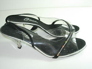 WOMENS-BLACK-CLEAR-RHINESTONE-SLINGBACK-PUMPS-EVENING-HIGH-HEELS-SHOES-SIZE-9-M