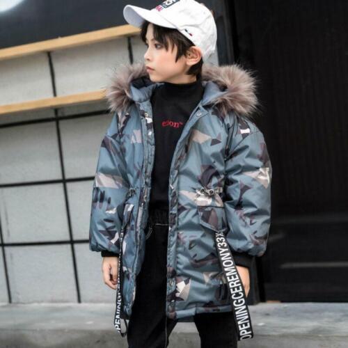 Thick winter Kids boys Big Fur Hooded Long Cotton Jacket Camouflage Coat Parka