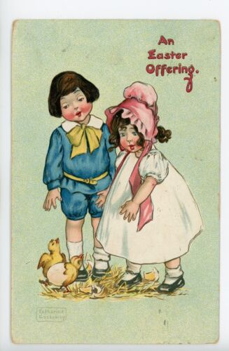"""An Easter Offering"" Embossed ArtistSigned GASSAWAY Cute Kids & Chicks Tucks"