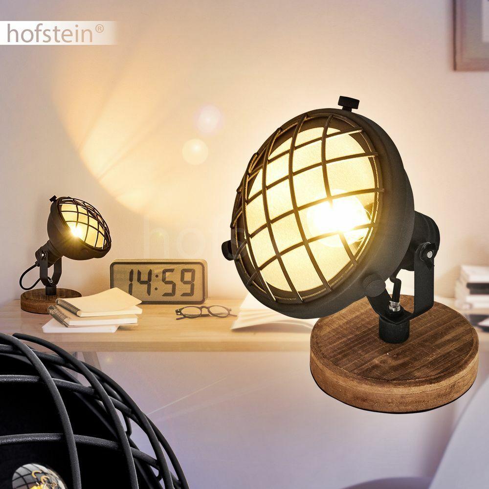 Holz schwarz Nacht Tisch Lese Lampen Leuchten Retro Schlaf Wohn Raum Beleuchtung