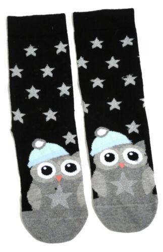 Damen schillernde Winter-Eulen-Schwarz-Silber-Socken Eur 37-42