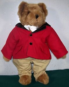 Vermont-Teddy-Bear-Company-16-034-Jointed-Brown-Bear-in-Red-Coat-amp-Cravat-EUC
