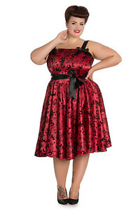 Hell Bunny Plus Size Gothic Red Black Tattoo Flock Rockabilly Dress ... cbedd6d44