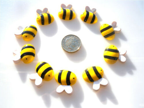 10 CUTE BUMBLE BEES FLATBACK CABOCHONS KAWAII DECODEN WITH FREE FAST SHIPPING